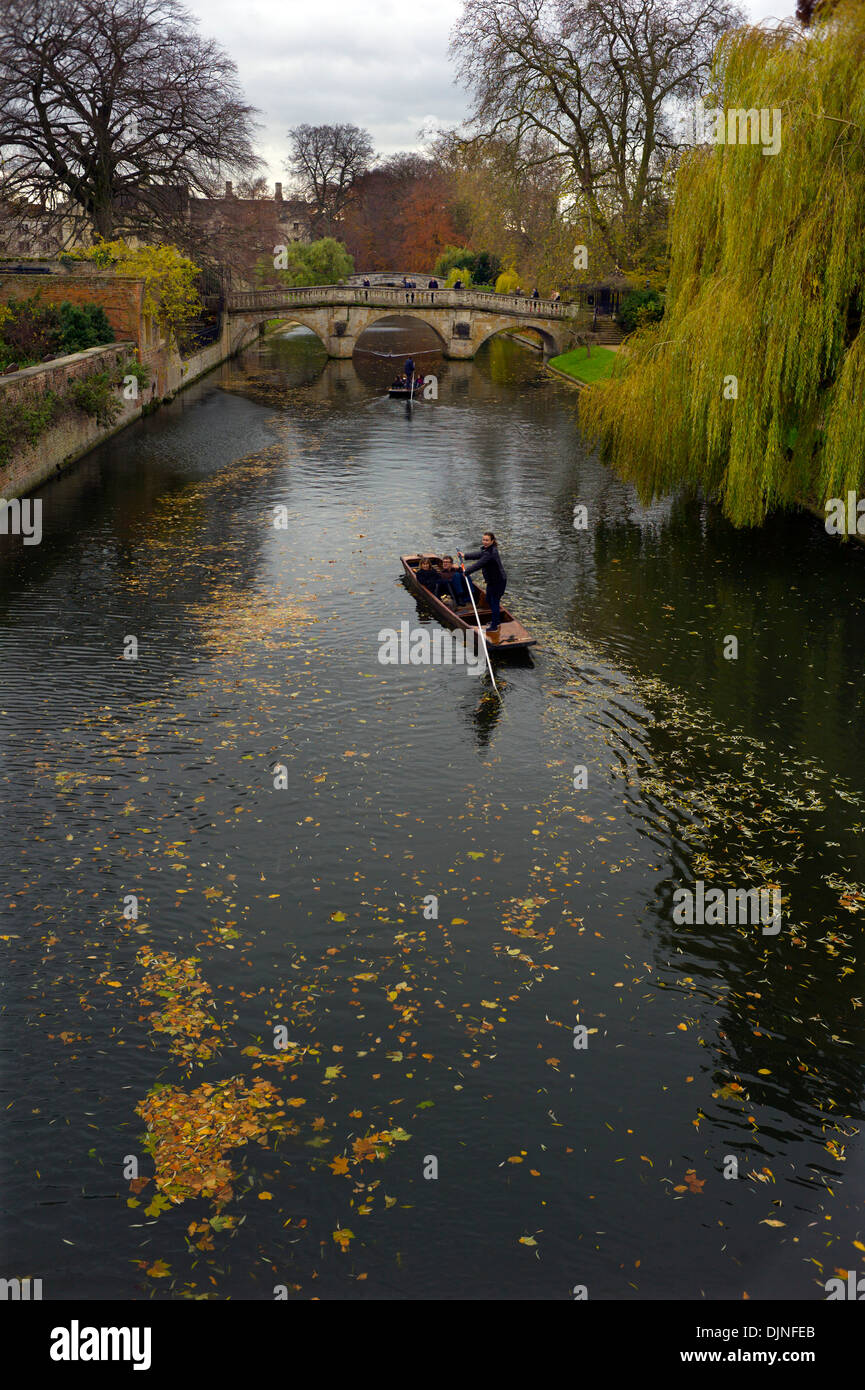 Cambridge Autumn Colours. Punting on the River Cam towards Clare Bridge along the 'Backs, Cambridge, England. - Stock Image