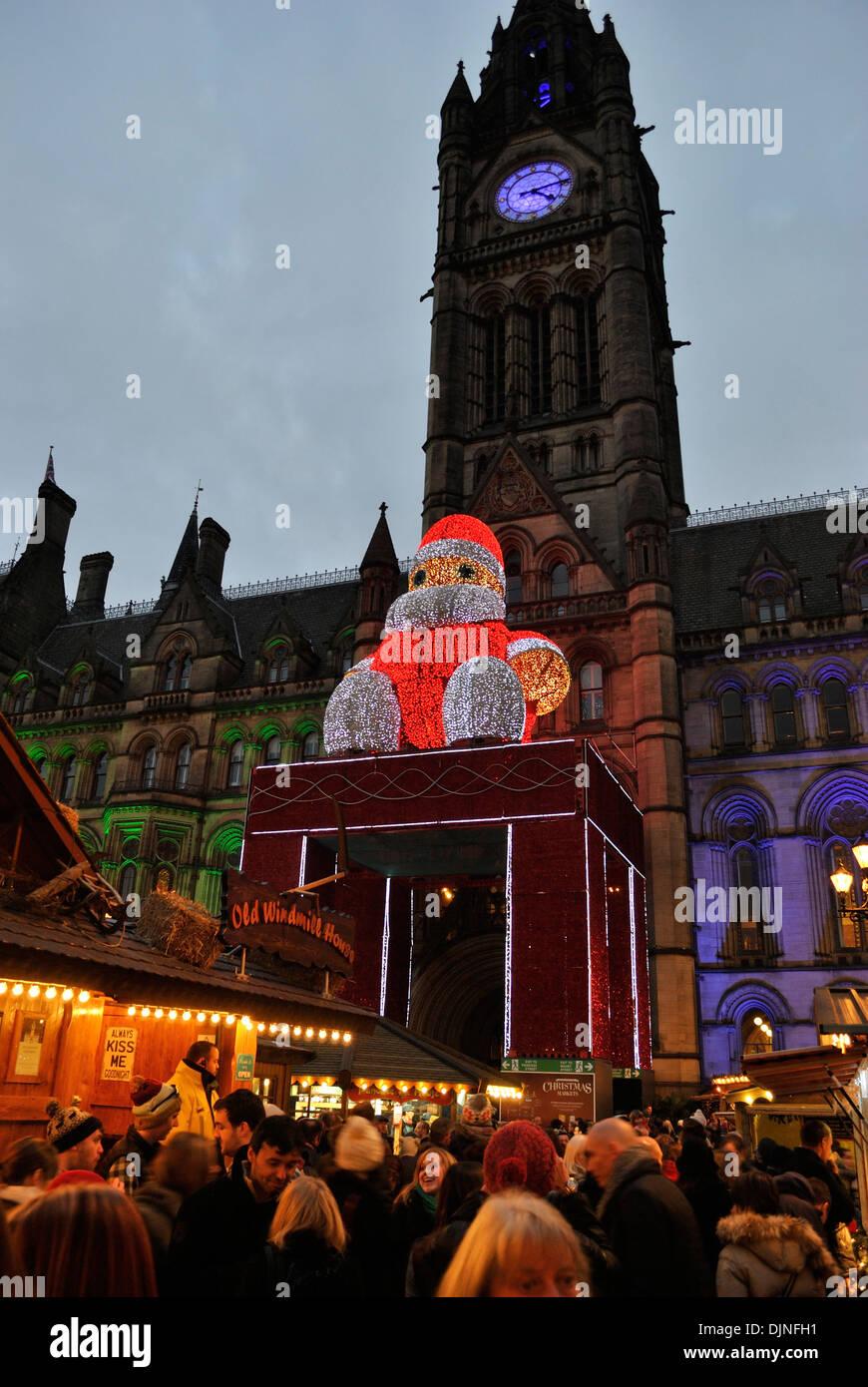 Manchester Christmas Market at dusk - Stock Image