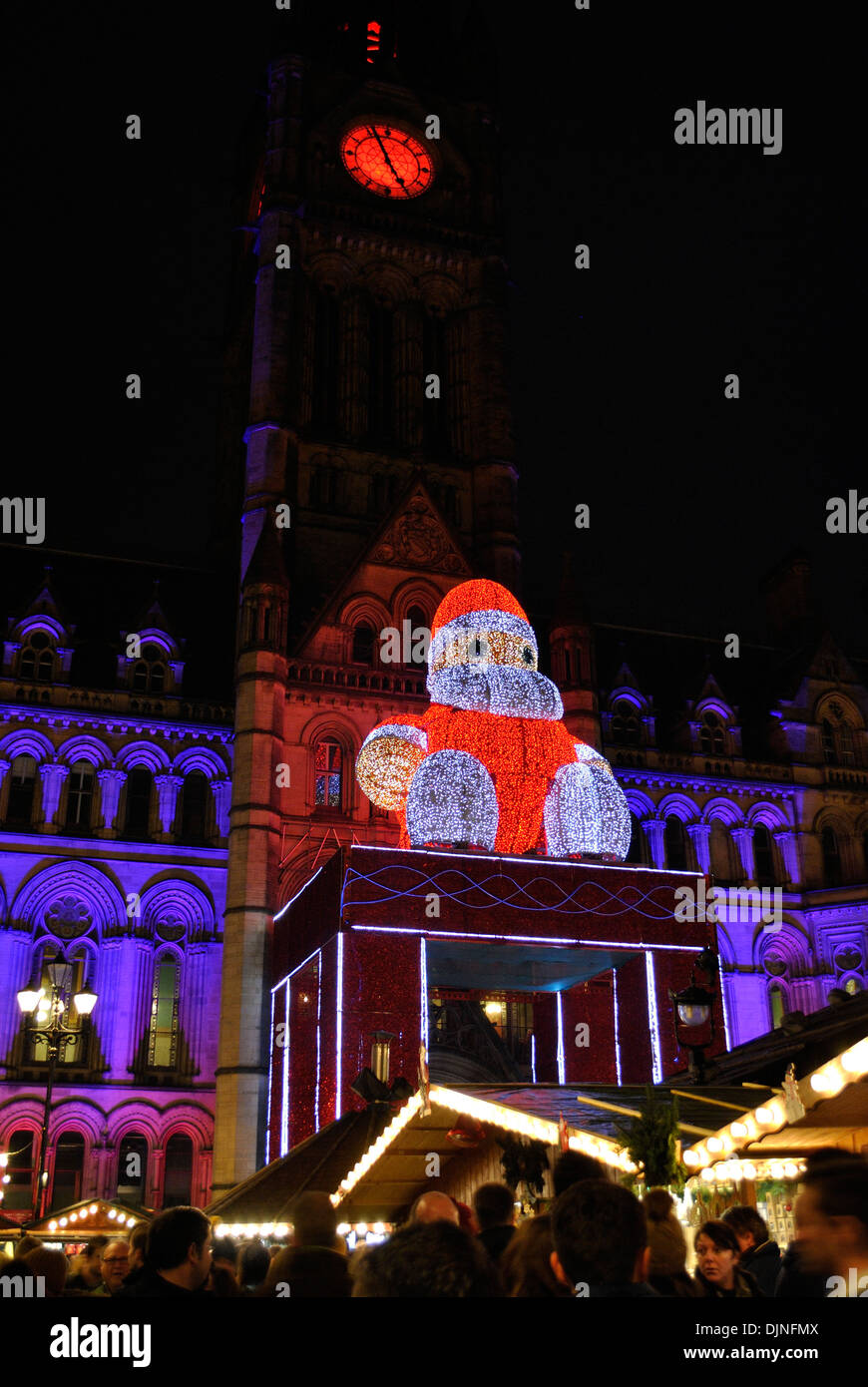 Manchester Christmas Markets 2013, in Albert Square, in front of Manchester Town Hall - Stock Image
