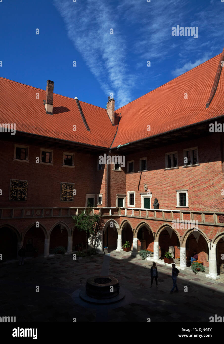 Courtyard of 15th Century Jagiellonian University where the astronomer Copernicus graduated as a student, Old Town, Krakow, Poland. - Stock Image
