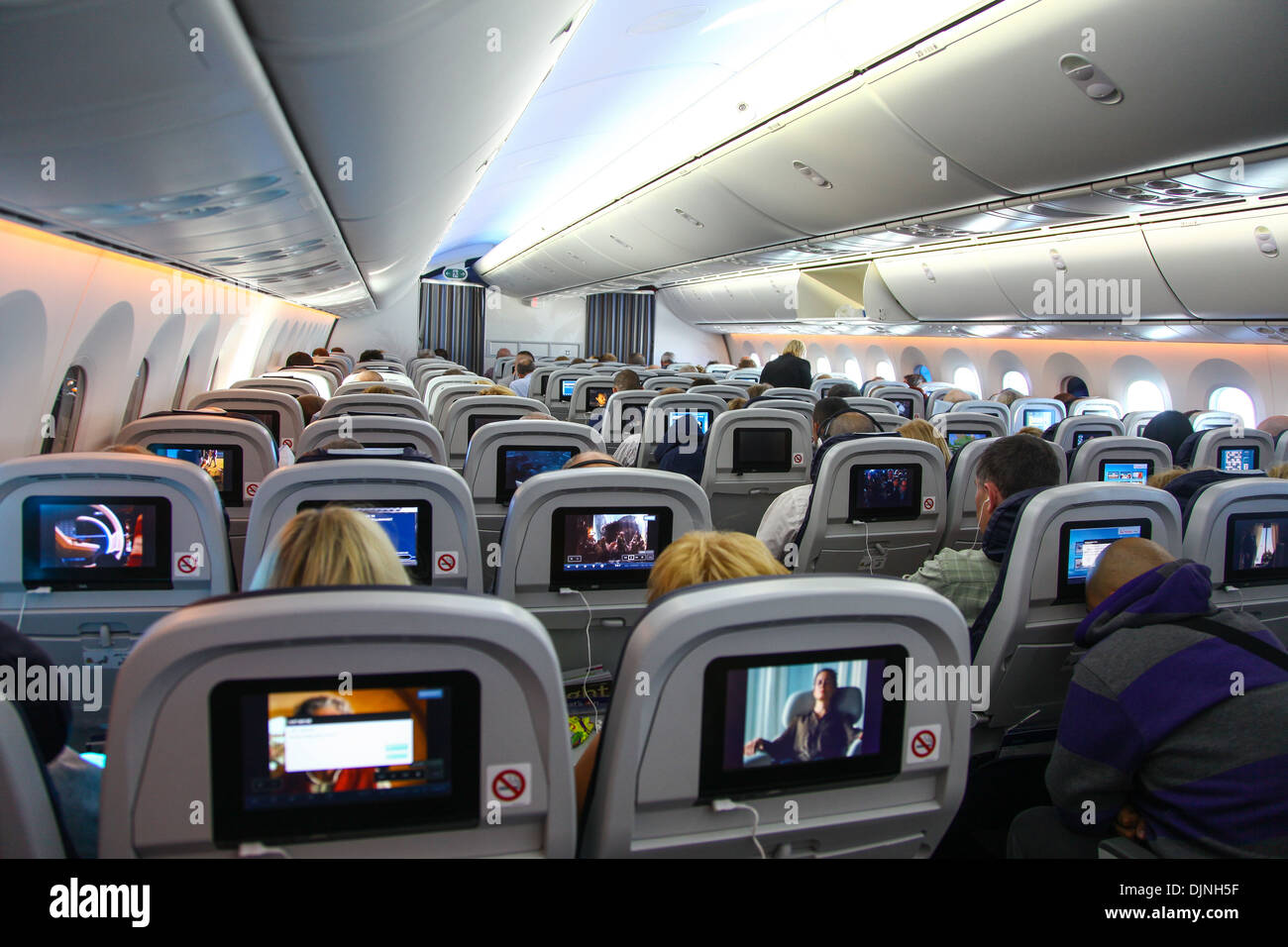 Interior Of A Boeing 787 Dreamliner Thompson Airways Aircraft Showing The  Individual Passenger In Flight Entertainment Screen