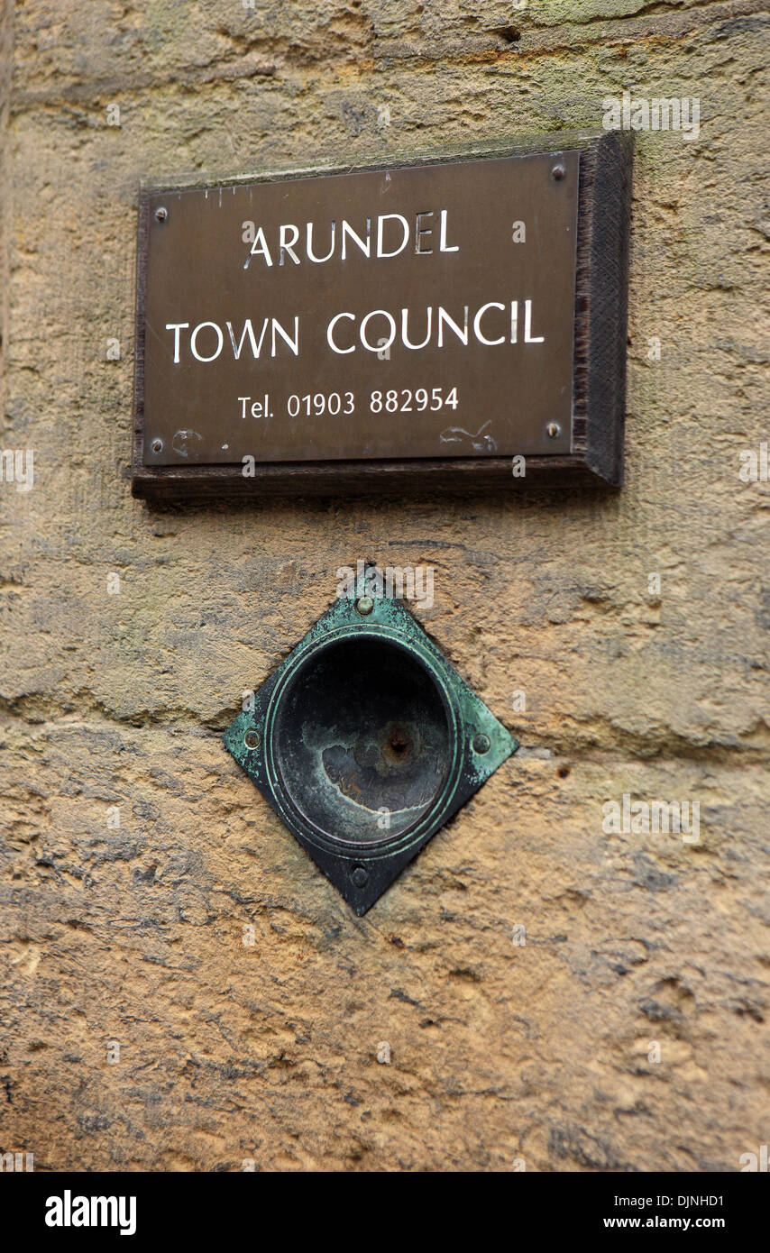 Name plate outside Arundel Town Council with telephone number in the South Downs market town in West Sussex - Stock Image