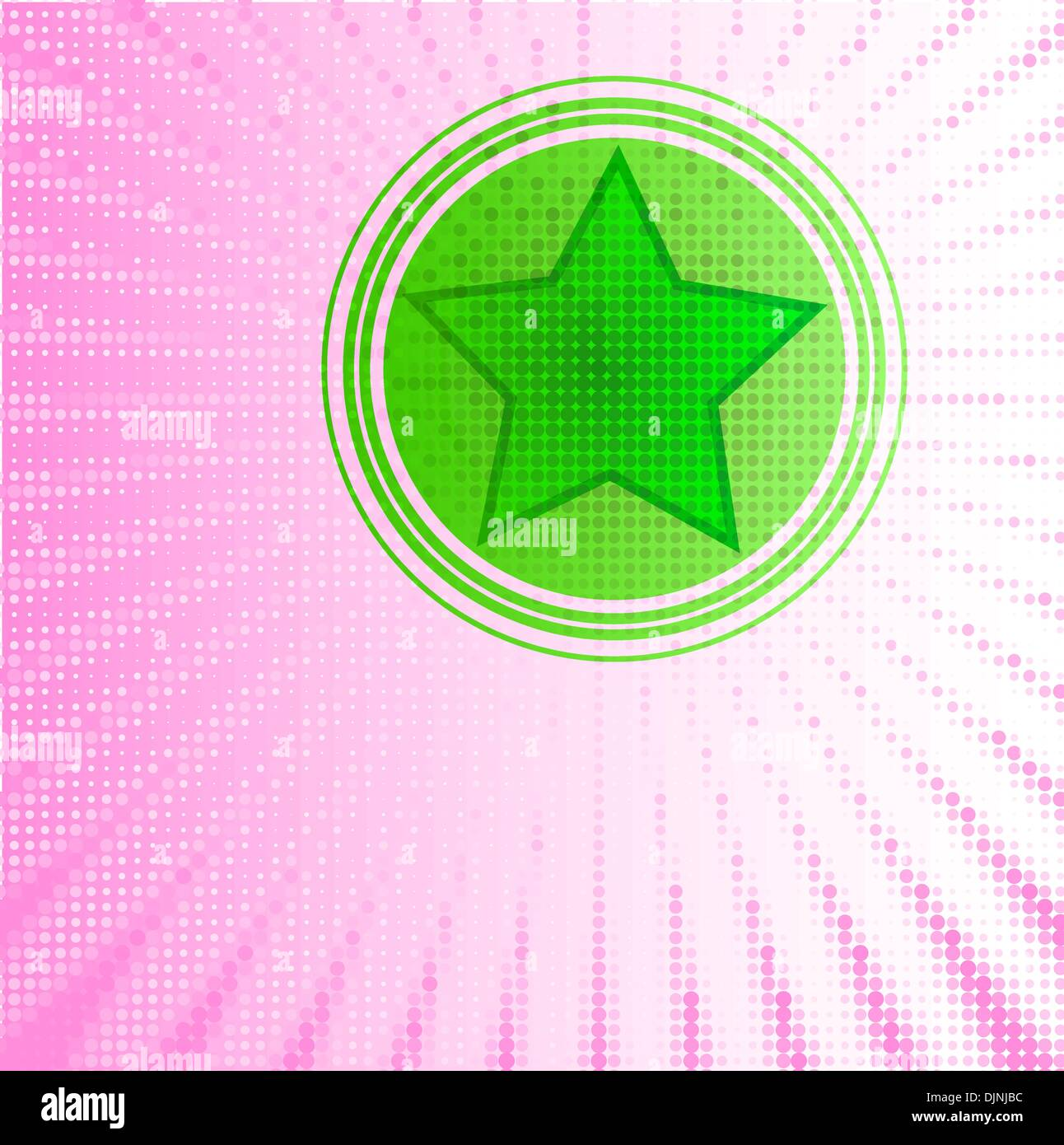 green star within circle and halftone background - Stock Vector