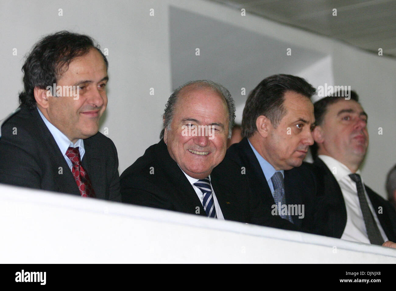 Apr 30, 2008 - St. Petersburg, Russia - The 2008 UEFA Champions League Final will be played on 21 May 2008 at the Luzhniki Stadium in Moscow, Russia. Pictured: FILE January 2008, (L-R) UEFA President MICHEL PLATINI, FIFA President JOSEPH BLATTER, Russian Football Unity VITALY MUTKO visiting St.Petersburg. (Credit Image: © PhotoXpress/ZUMA Press) RESTRICTIONS: * North and South Amer - Stock Image