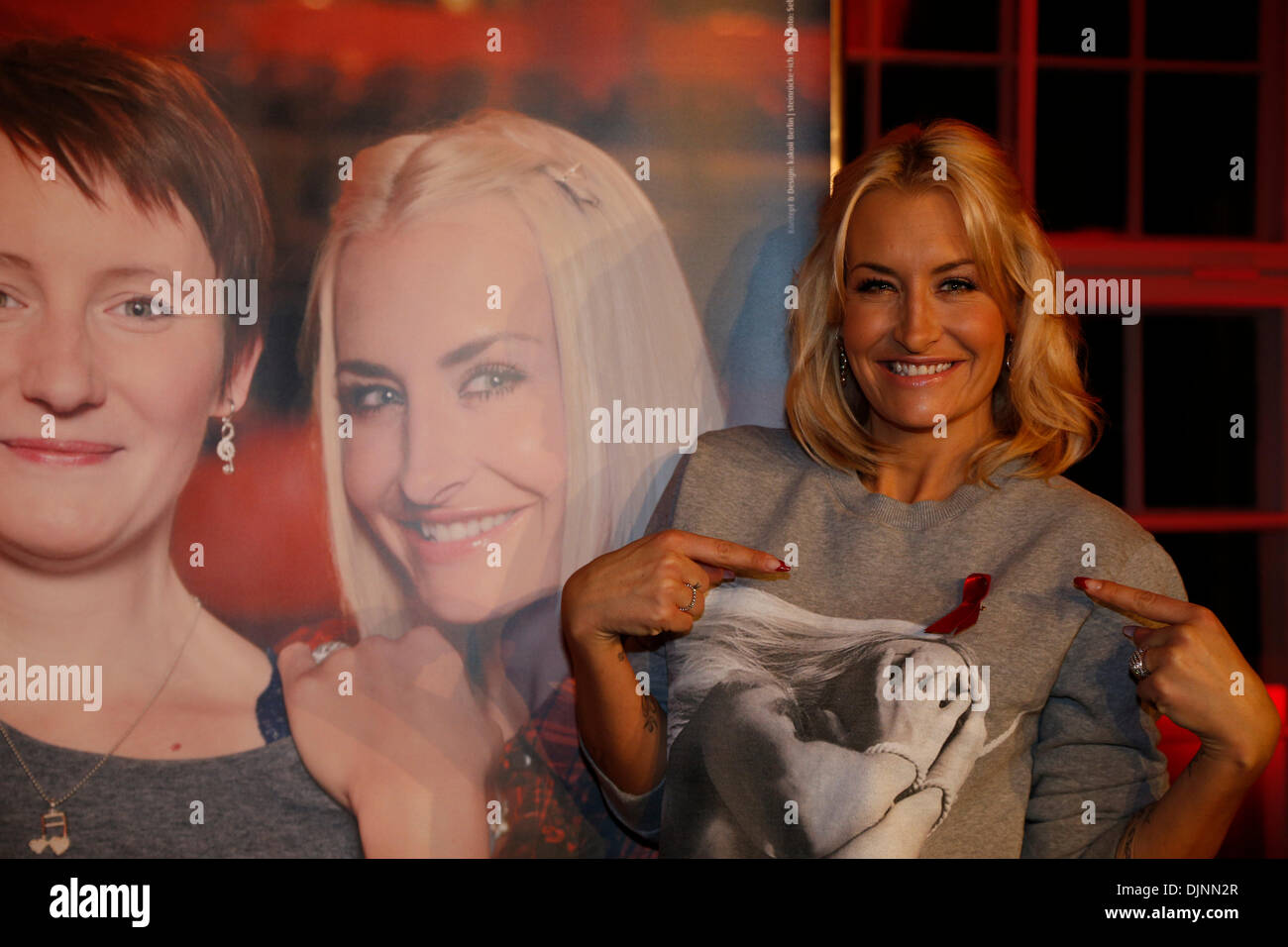 Berlin, Germany. November 29th, 2013. Press conference with German star singer Sarah Connor on 'Live together positively' on the occasion of the World AIDS Day at the admiral palace in Berlin. Credit:  Reynaldo Chaib Paganelli/Alamy Live News - Stock Image