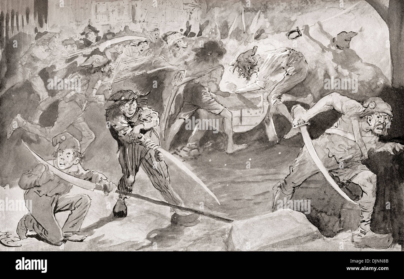Grindstone. Revolutionaries sharpen their weapons. Illustration by Harry Furniss for Charles Dickens novel A Tale of Two Cities. - Stock Image