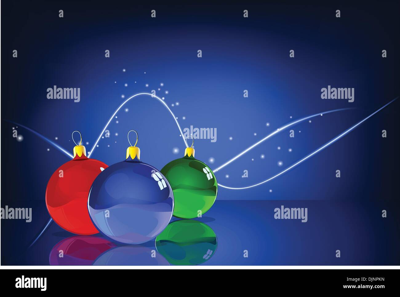 Vector Illustration of three Christmas Balls with reflections on the blue Abstract lines background - Stock Vector