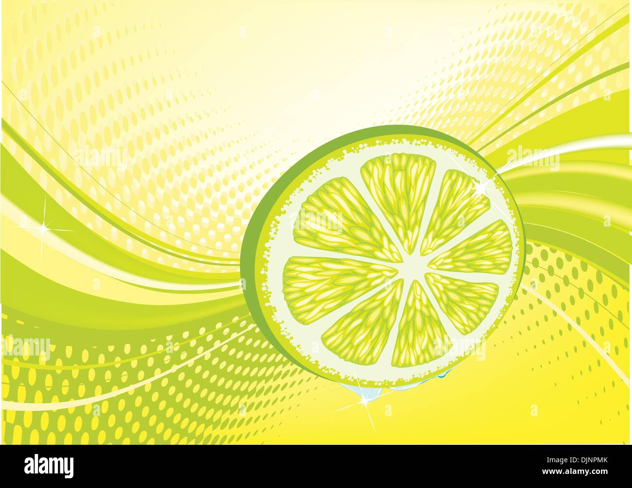 Yellow  abstract fruit background: composition of dots and curved lines - great for backgrounds, or layering over other images - Stock Vector