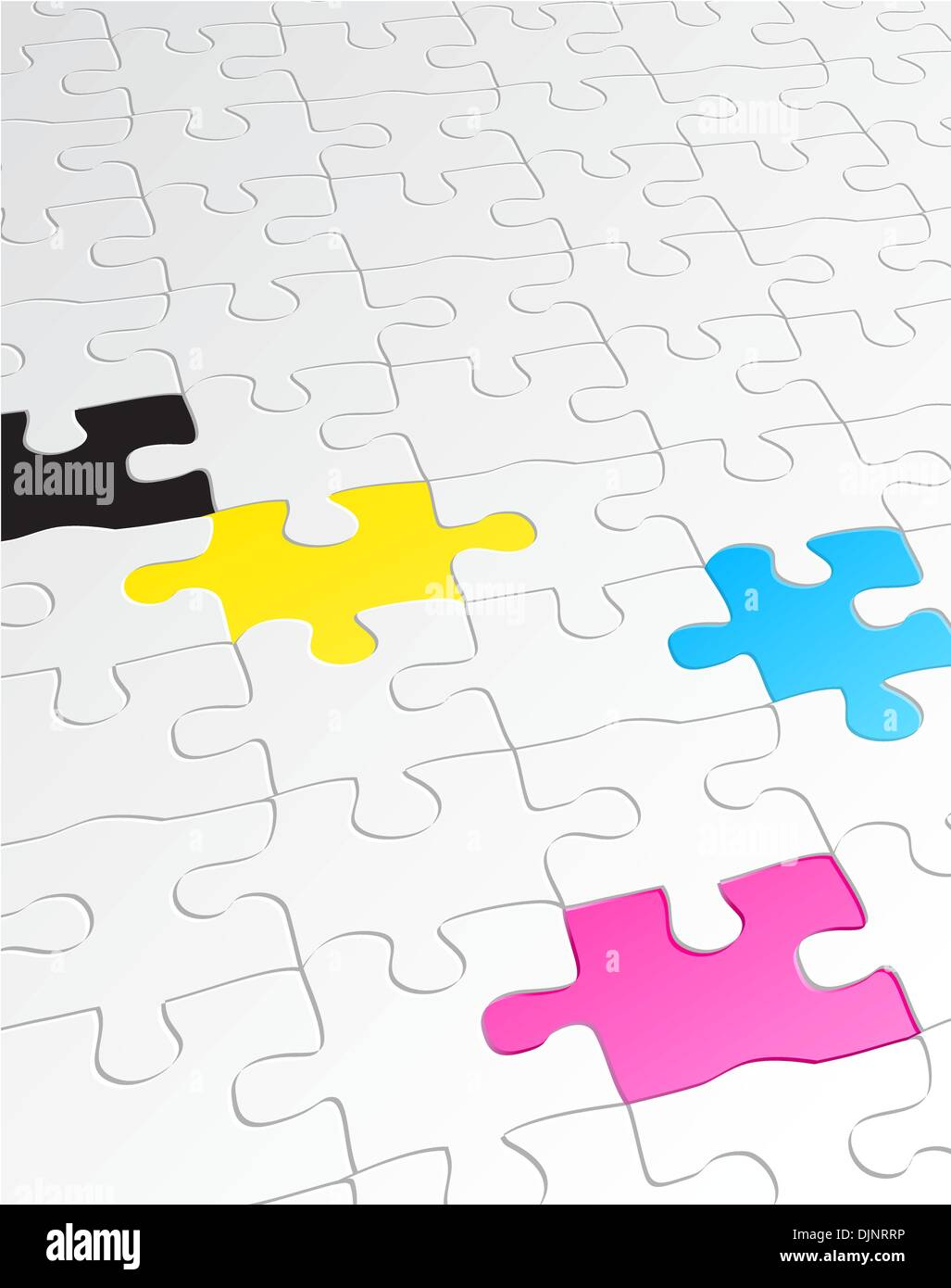 Vector Illustration Of Abstract Background Made Jigsaw Puzzle Templates With 4 Pieces In Different Colors