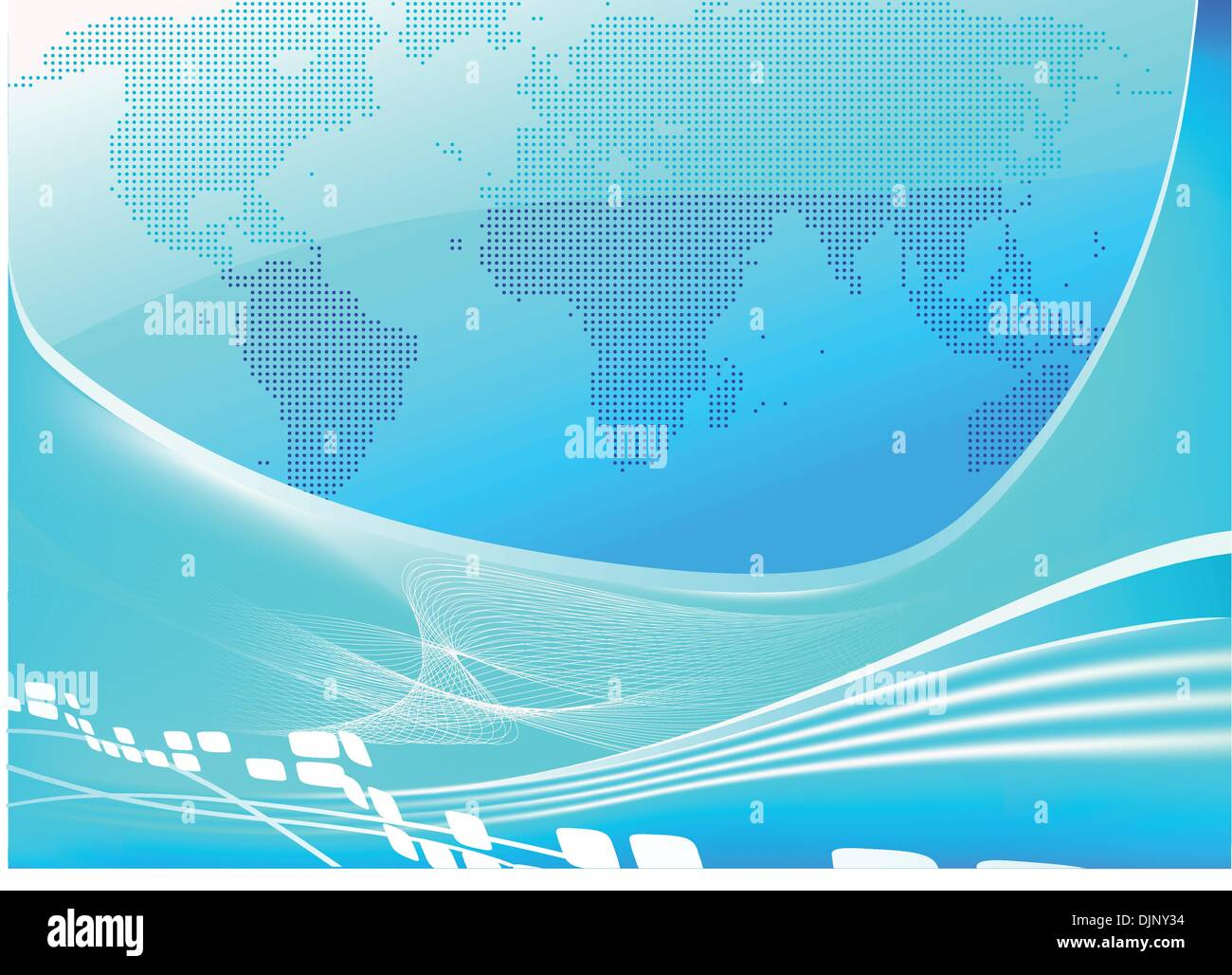 Vector illustration of stylised blue world map background - Stock Vector