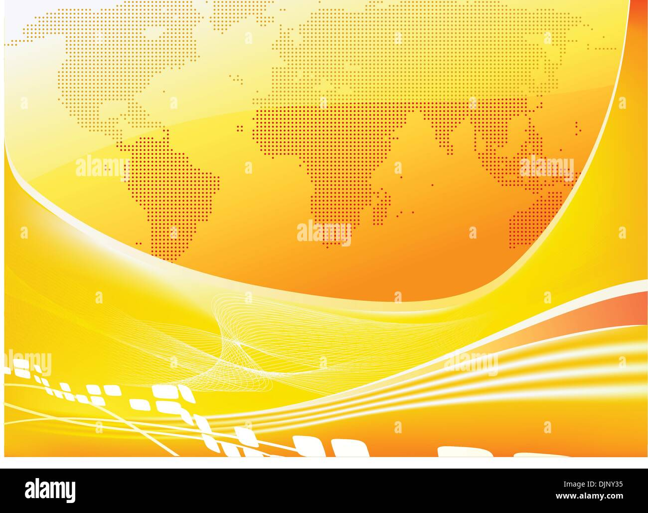 Vector illustration of stylised orange world map background - Stock Vector
