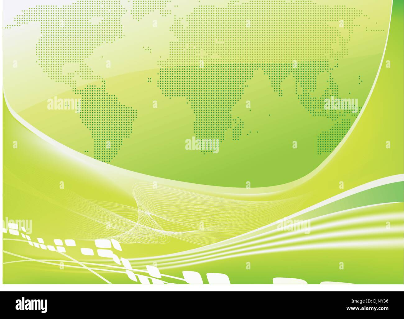 Vector illustration of stylised green world map background - Stock Vector