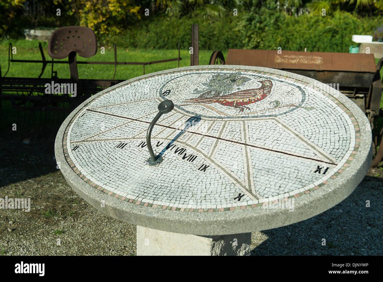 sundial in garden of Aiello del Friuli village, Friuli Venezia Giulia, Italy - Stock Image