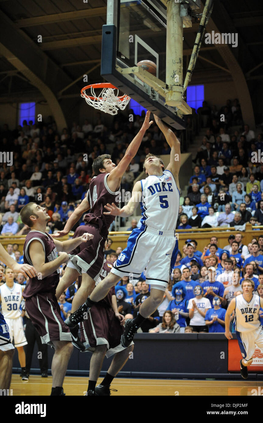 Nov 23, 2008 - Durham, North Carolina, USA - NCAA Basketball: Duke Bluedevils (5) MARTYNAS PODUS attempts to lay the basketball up as the Duke University Bluedevils defeat the University of Montana Grizzlies with a final score of 78-58 as they played mens college basketball at Cameron Indoor Stadium located in Durham. (Credit Image: © Jason Moore/ZUMA Press) - Stock Image