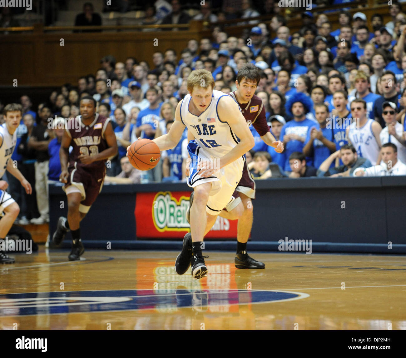 Nov 23, 2008 - Durham, North Carolina, USA - NCAA Basketball: Duke Bluedevils (12) KYLE SINGLER drives to the basket as the Duke University Bluedevils defeat the University of Montana Grizzlies with a final score of 78-58 as they played mens college basketball at Cameron Indoor Stadium located in Durham.  (Credit Image: © Jason Moore/ZUMA Press) - Stock Image