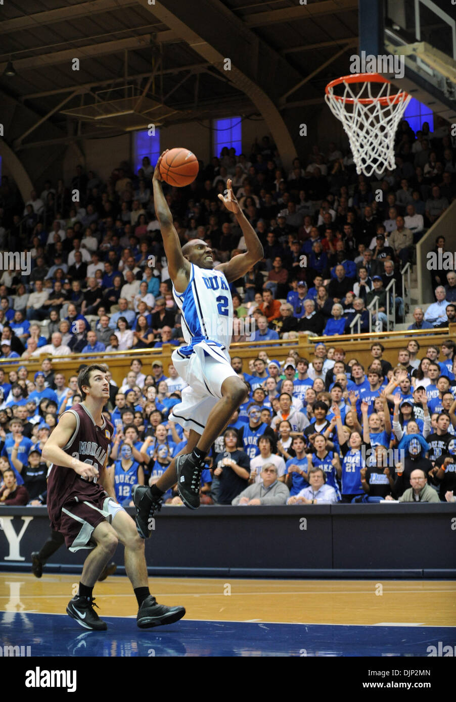 Nov 23, 2008 - Durham, North Carolina, USA - NCAA Basketball: Duke Bluedevils (2) NOLAN SMITH dunks the basketball as the Duke University Bluedevils defeat the University of Montana Grizzlies with a final score of 78-58 as they played mens college basketball at Cameron Indoor Stadium located in Durham.  (Credit Image: © Jason Moore/ZUMA Press) - Stock Image