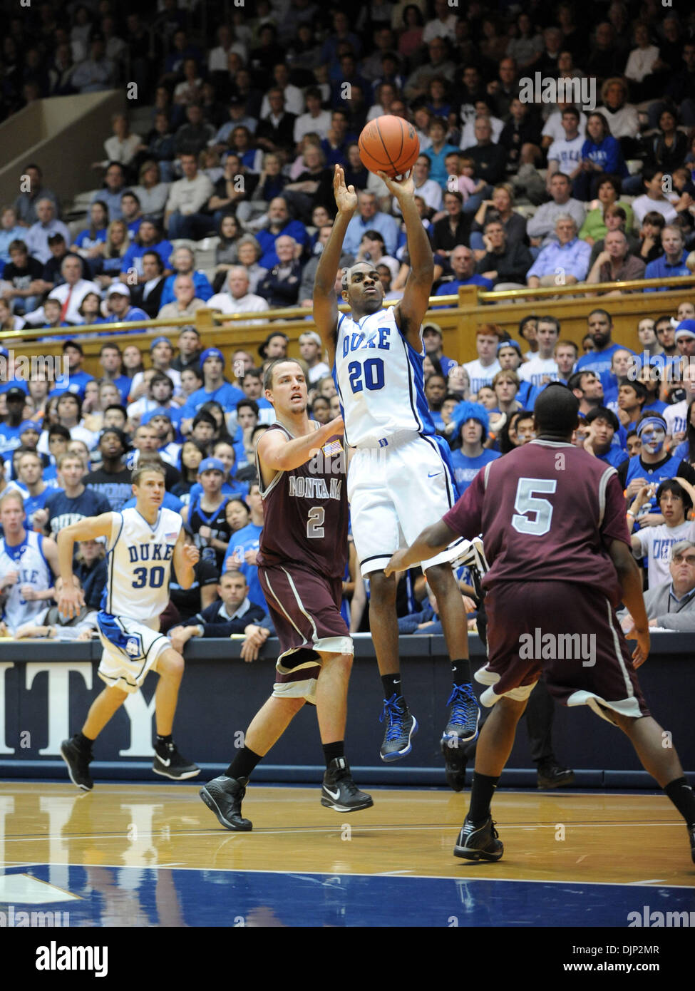 Nov 23, 2008 - Durham, North Carolina, USA - NCAA Basketball: Duke Bluedevils (20) ELLIOT WILLIAMS takes a jump shot as the Duke University Bluedevils defeat the University of Montana Grizzlies with a final score of 78-58 as they played mens college basketball at Cameron Indoor Stadium located in Durham.   (Credit Image: © Jason Moore/ZUMA Press) - Stock Image
