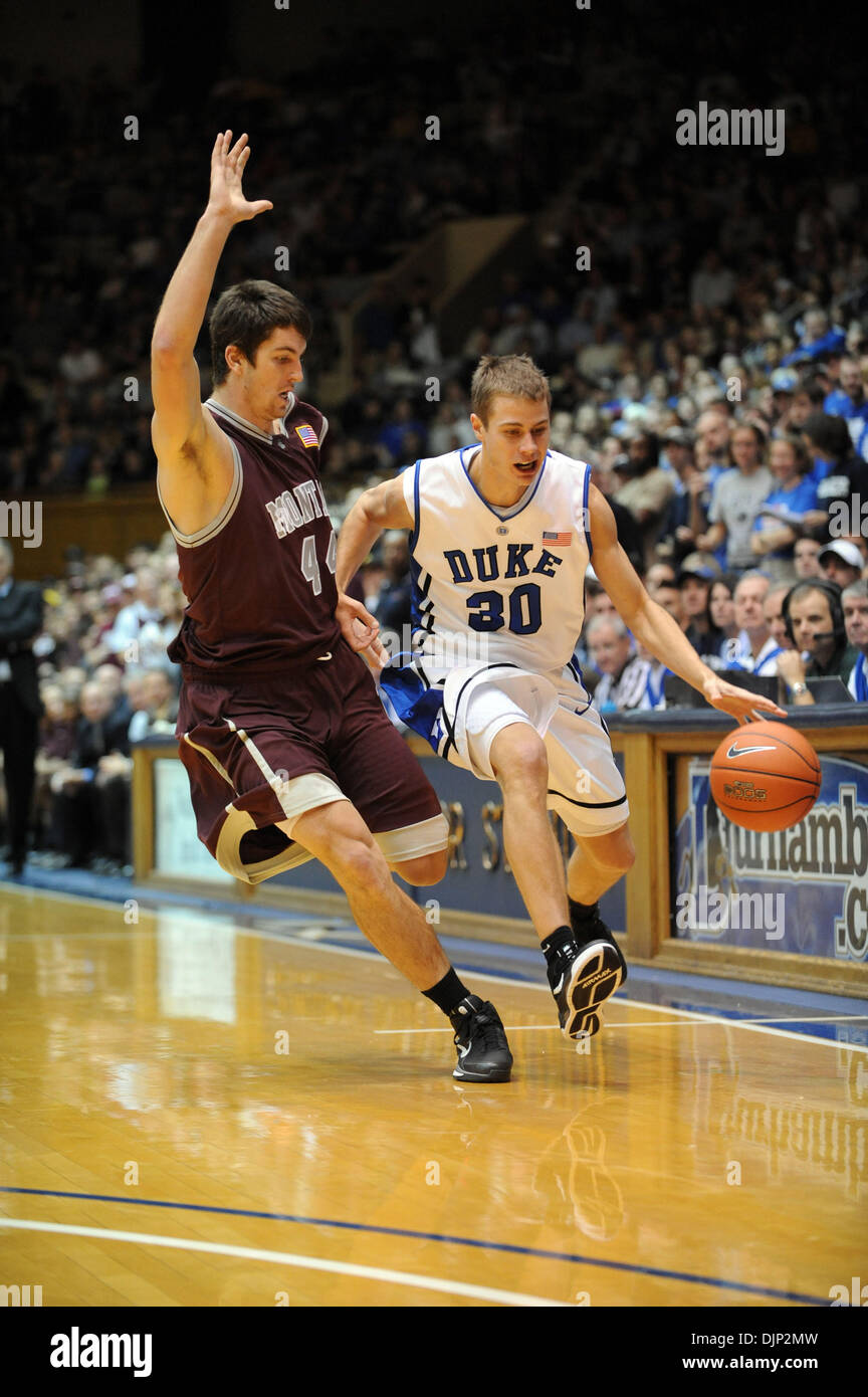 Nov 23, 2008 - Durham, North Carolina, USA - NCAA Basketball: Duke Bluedevils (30) JON SCHEYER drives to the basket as he is guarded by Montana Grizzlies (44) JACK MCGILLIS as the Duke University Bluedevils defeat the University of Montana Grizzlies with a final score of 78-58 as they played mens college basketball at Cameron Indoor Stadium located in Durham.  (Credit Image: © Jaso - Stock Image