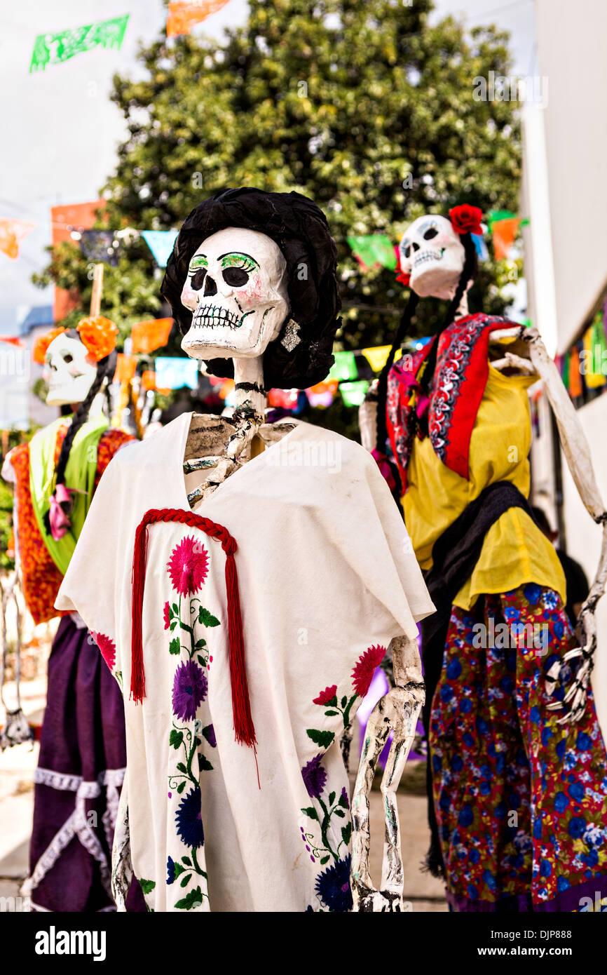 Skeleton Decorations Celebrating The Day Of Dead Festival November 1 2013 In Oaxaca
