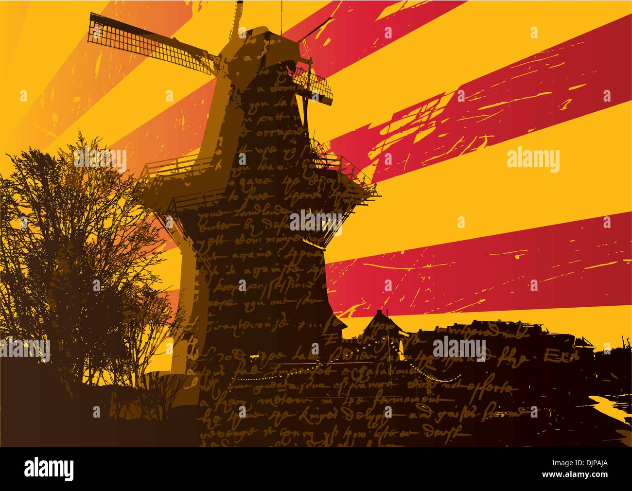 background with windmill - Stock Image