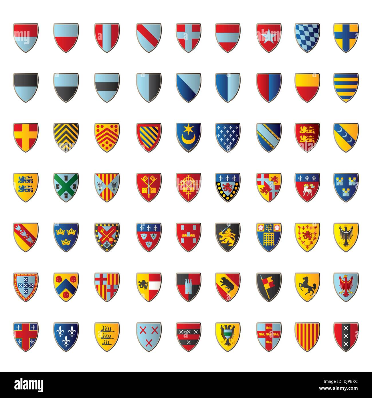 European crests isolated on white - Stock Vector