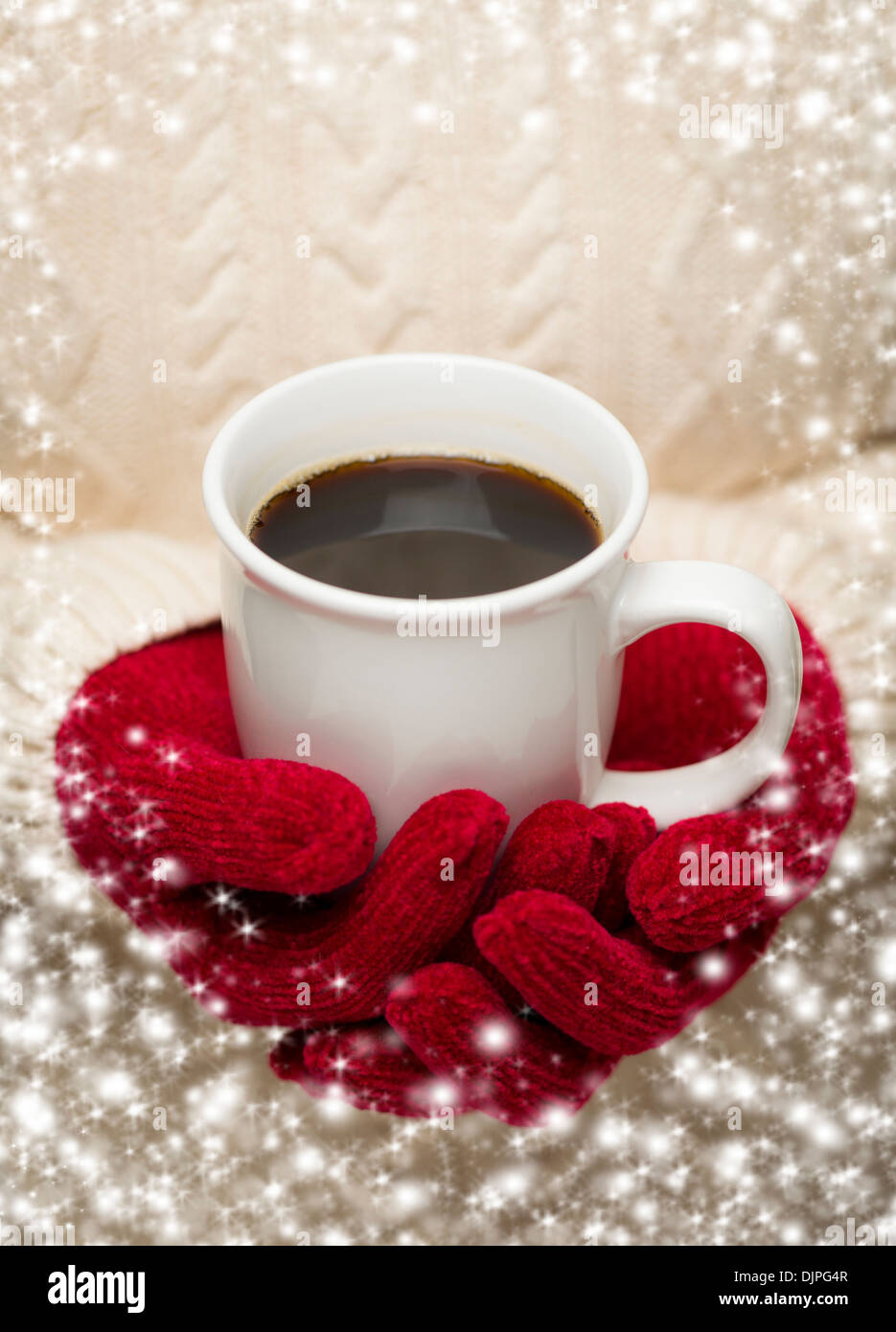 Woman in Sweater with Seasonal Red Mittens Holding a Warm Cup of Coffee with Snow Flakes Border. - Stock Image