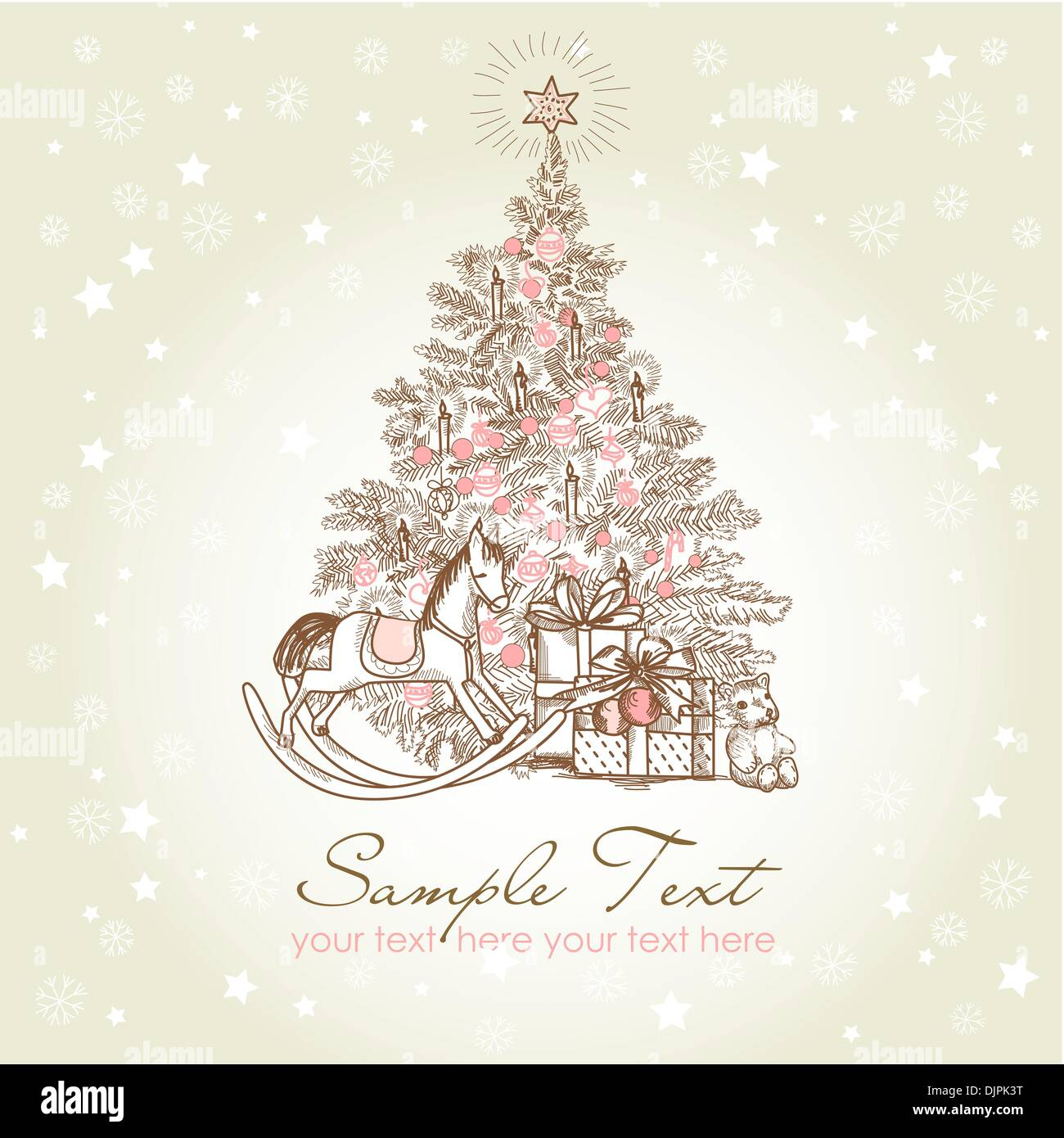 Vintage Christmas Card Beautiful Christmas Tree Illustration Stock Vector Image Art Alamy