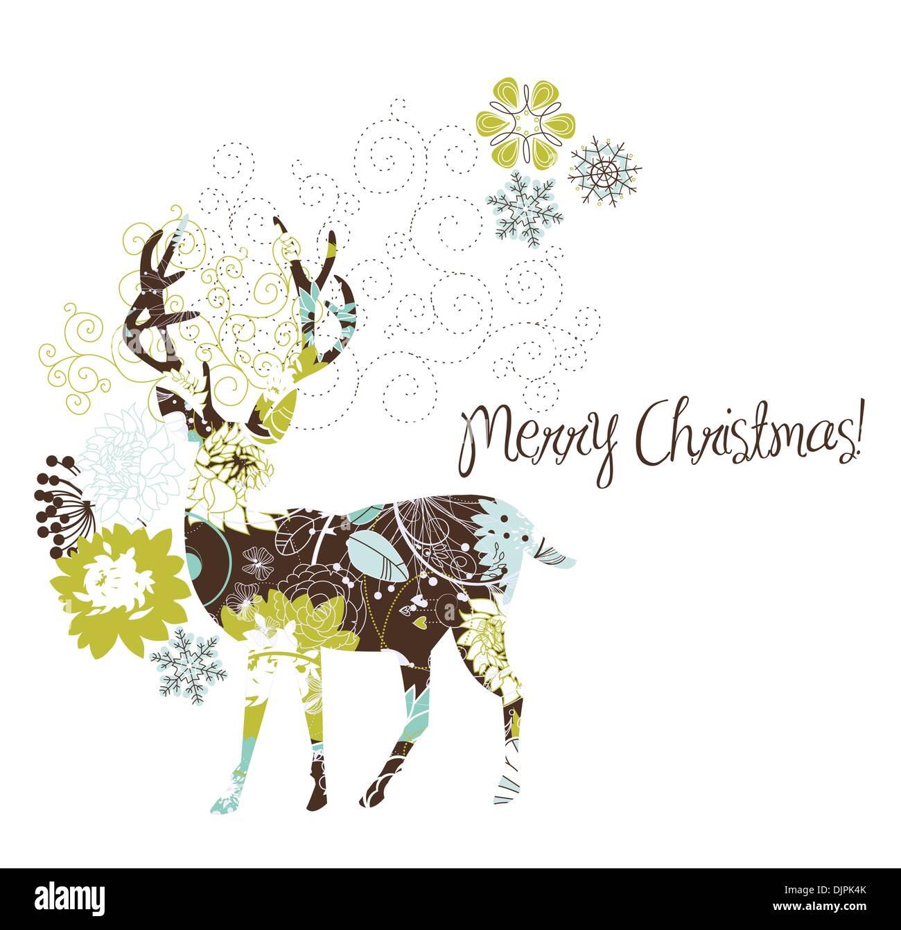 two deer and snow stock vector images alamy rh alamy com Deer Silhouette Vector Elk Vector