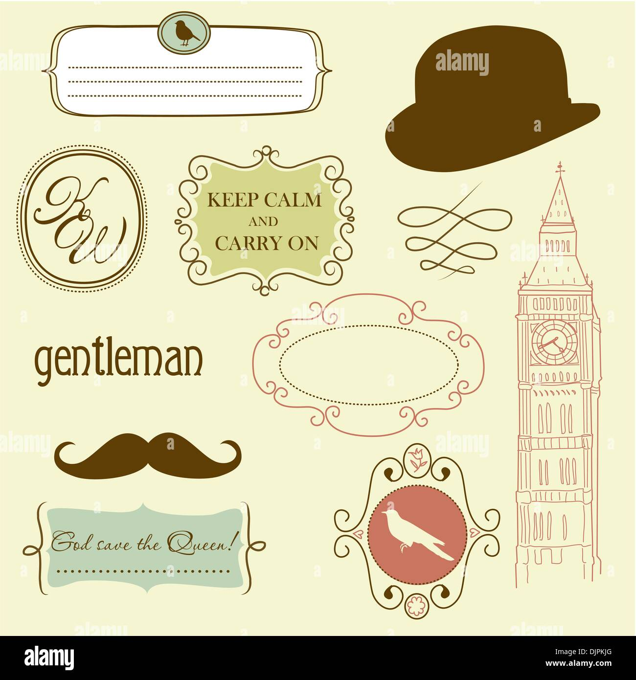 Doodle frames in British style - Stock Image