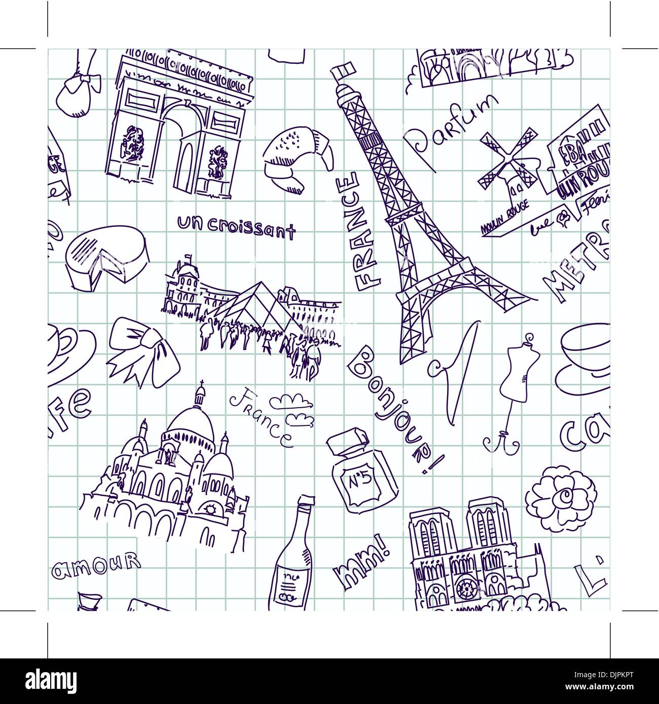 Sightseeing in Paris doodles. Seamless Background - Stock Image