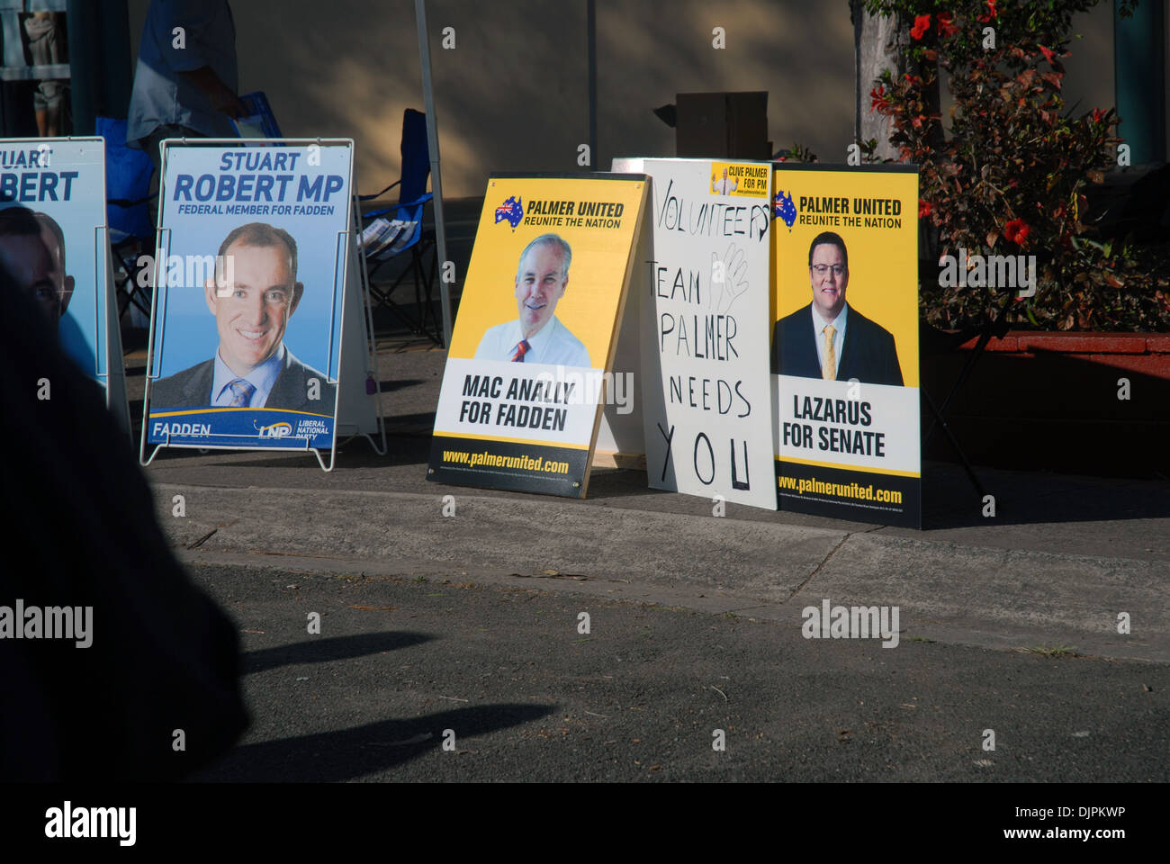Election posters outside Helensvale High School as part of