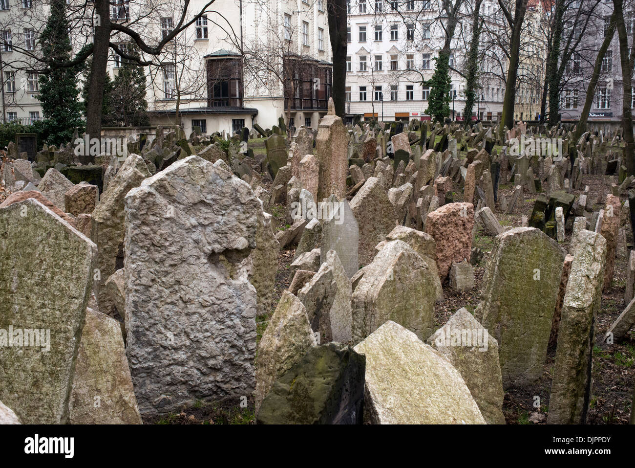 Multi-layered Jewish cemetery in Prague 89