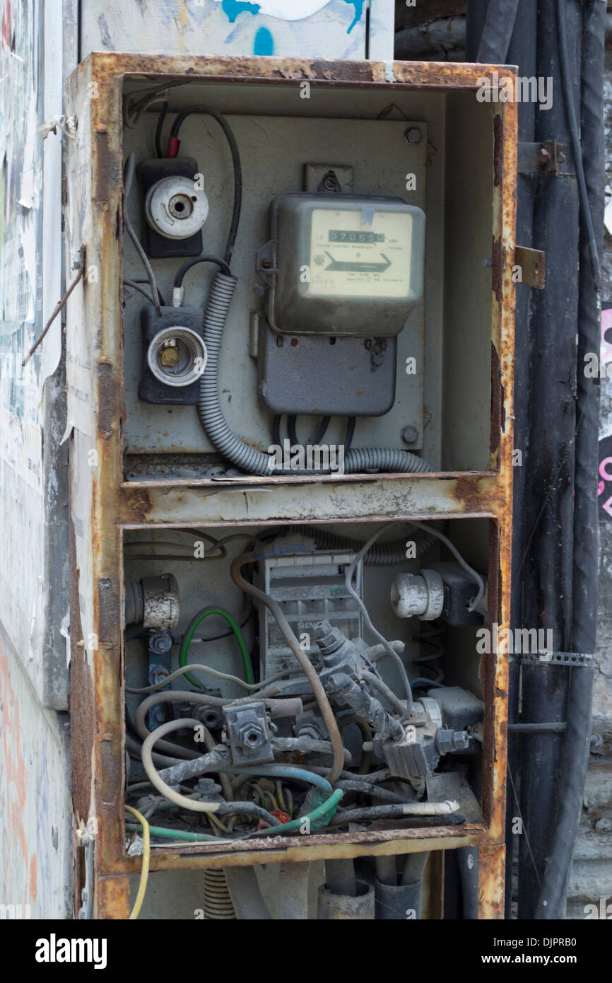 Fuse Box And Meter Stock Photos Images Outside Breaker Vandalised Electrical Electricity In Bucharest Romania Image