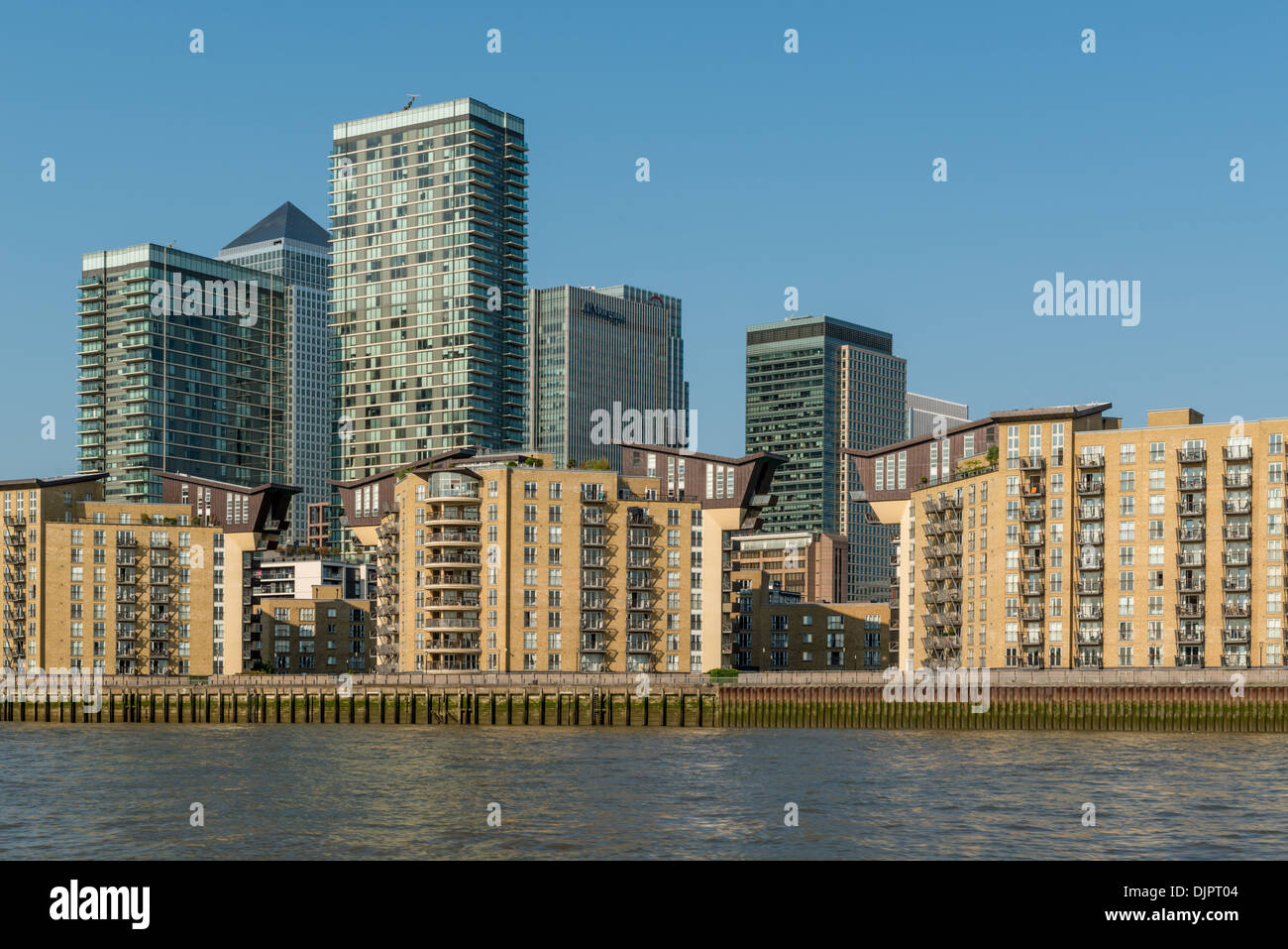 View of Canary Wharf and Isle of Dogs from River Thames - Stock Image