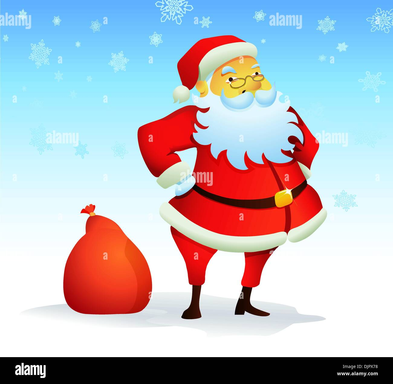 Vector illustration of Christmas background with Santa Claus and red gift bag - Stock Vector