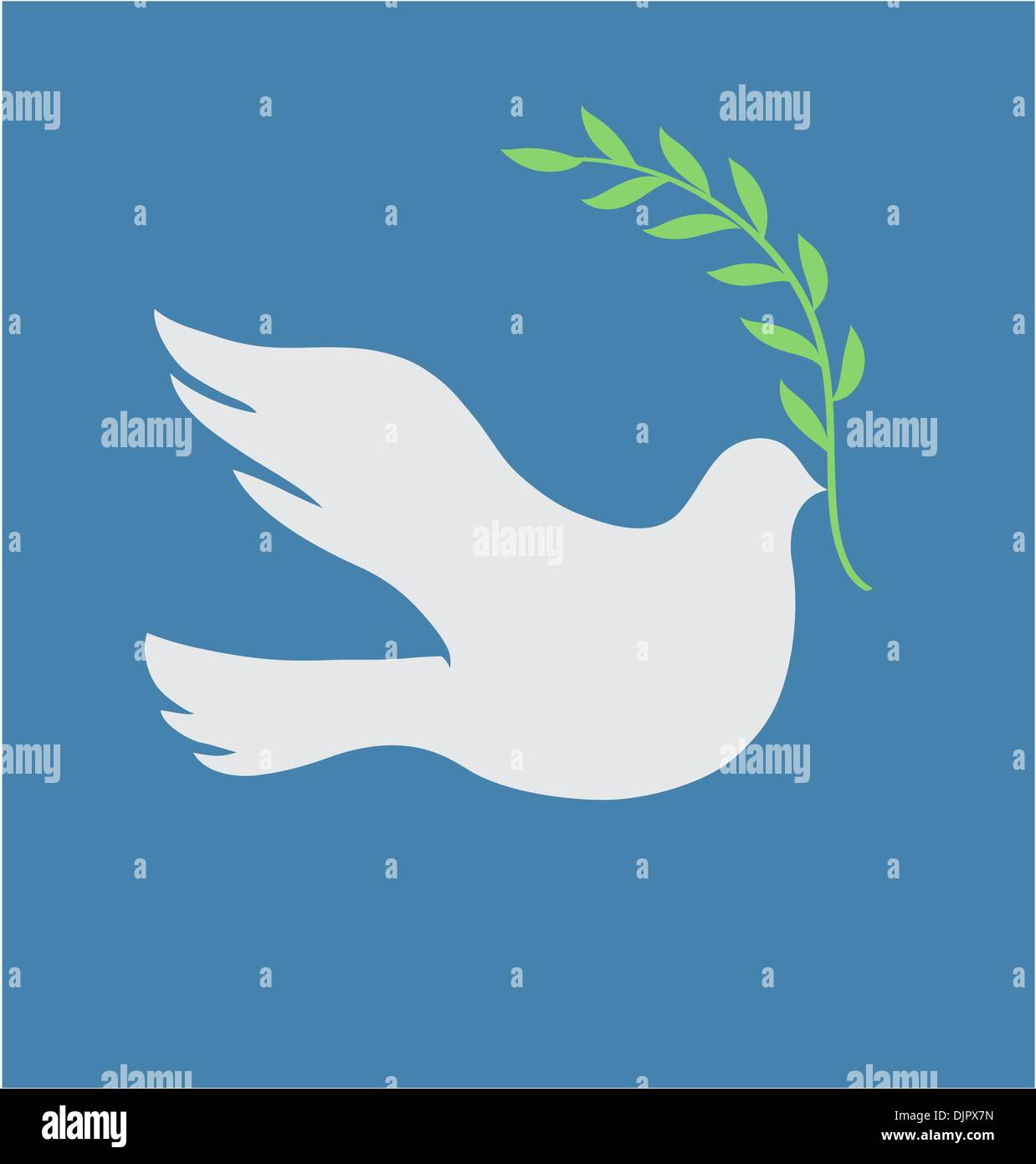 Vector Concept illustration of Beautiful white dove in flight holding an Olive Branch Stock Vector