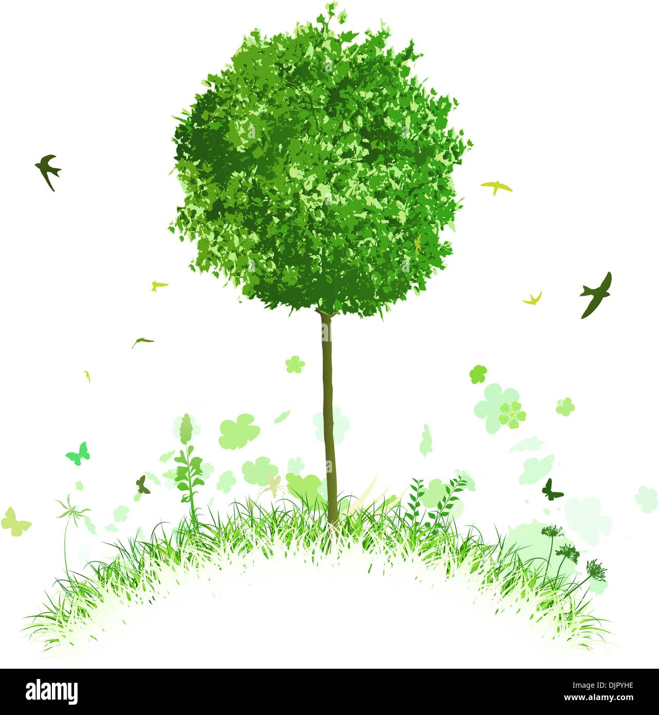 Vector illustration of single tree on a stylised hill with grass and birds - Stock Vector
