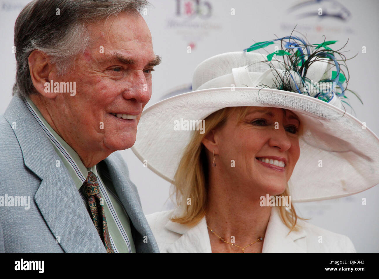 May 01, 2010 - Louisville, Kentucky, U.S. - Former ''Hollywood Squares'' gameshow host Peter Marshall and his wife, Lori, posed on the red carpet at the 136th running of the Kentucky Derby at Churchill Downs Saturday May 1, 2010. Photo by David Perry (Credit Image: © Lexington Herald-Leader/ZUMApress.com) - Stock Image