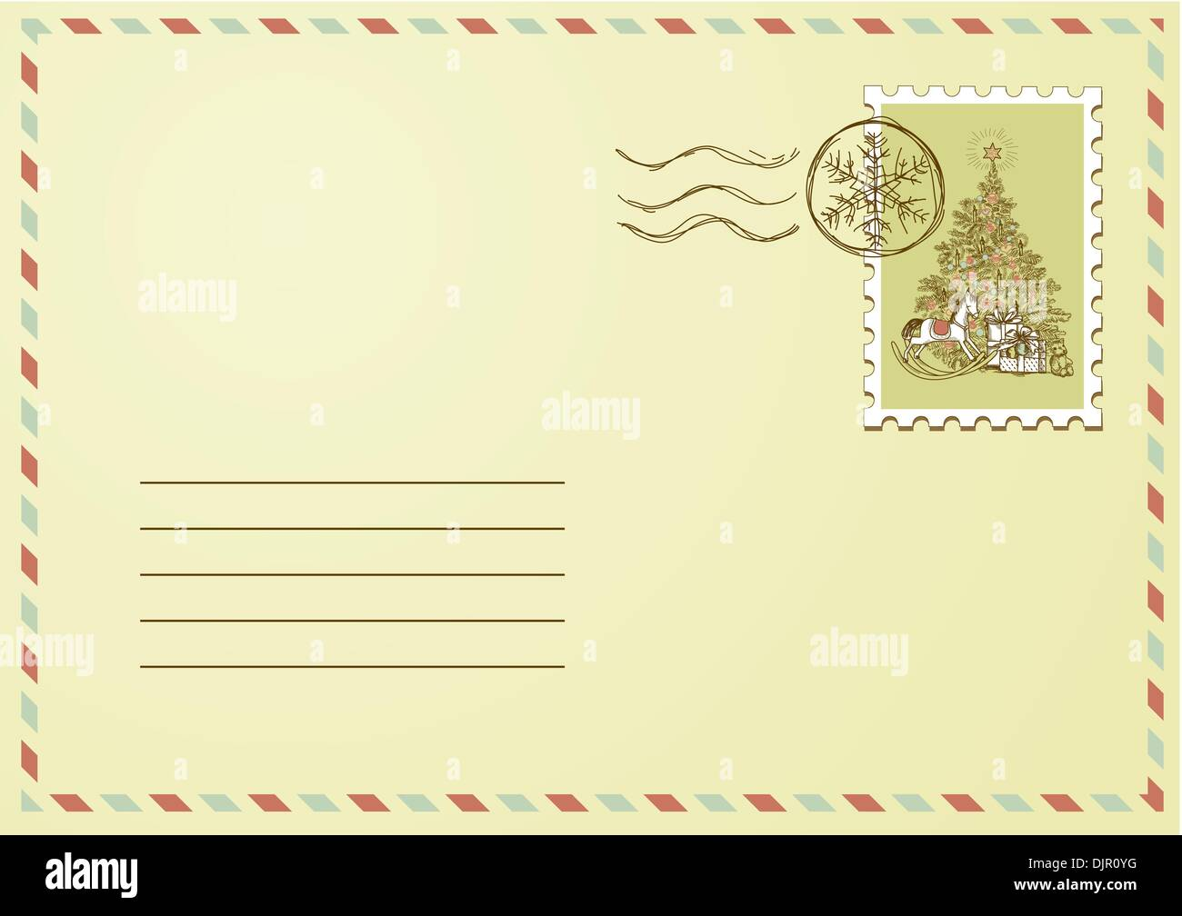 Envelope with Christmas stamp Stock Vector