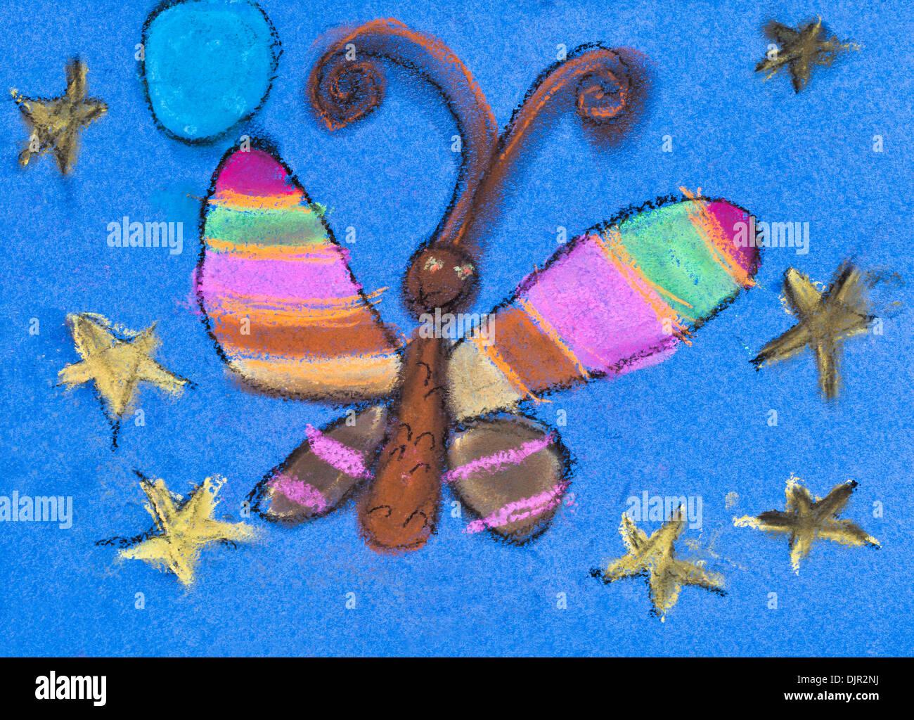 children drawing - night moth under blue star sky - Stock Image