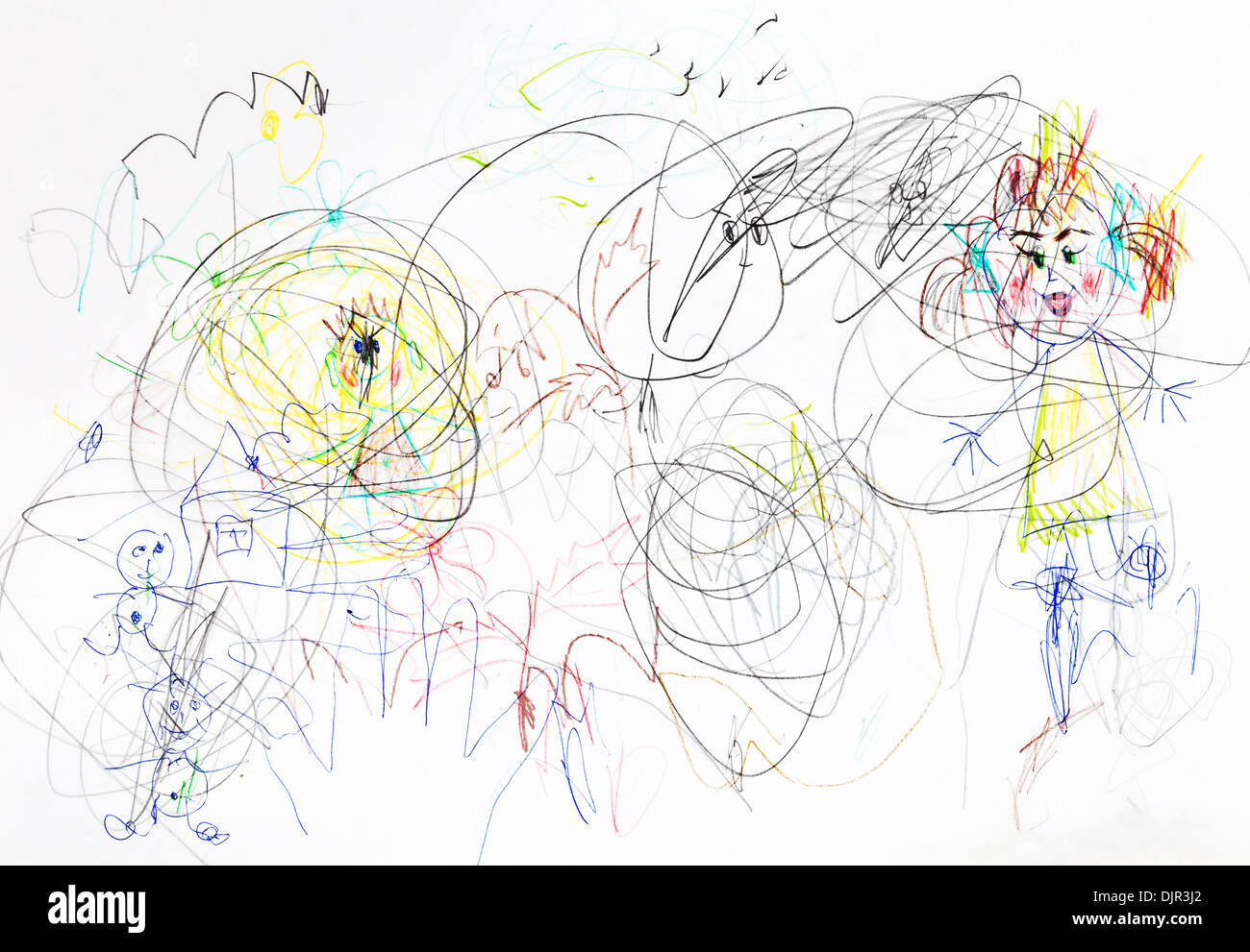 children drawing - chaos in family upbringing - Stock Image