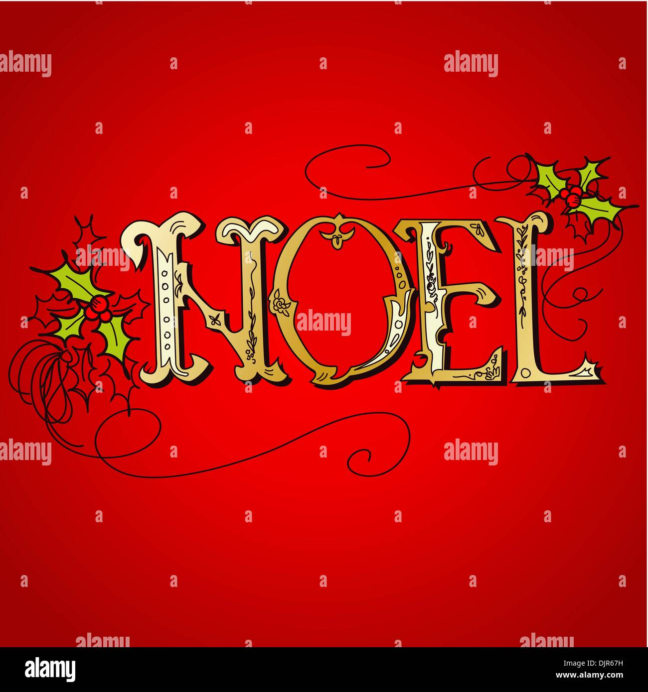 foto de Vintage Christmas Card. NOEL lettering Stock Vector Art ...