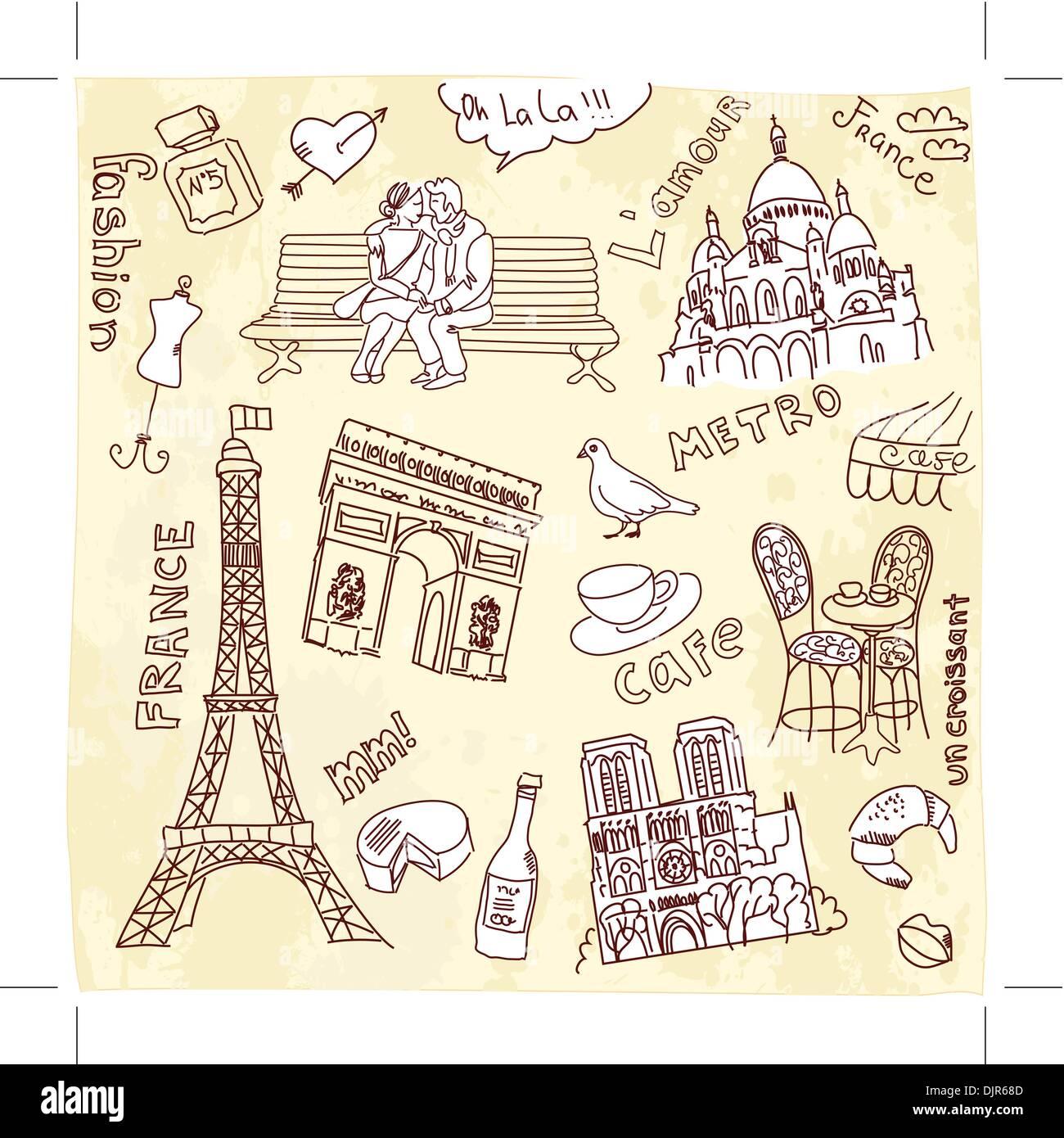 Paris doodles - Stock Image