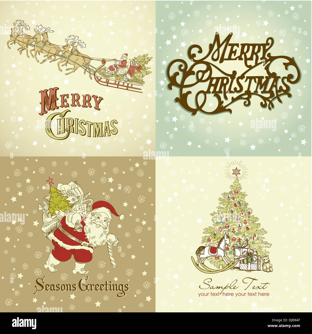 Set Of Christmas Cards In Vintage Style Stock Vector Art