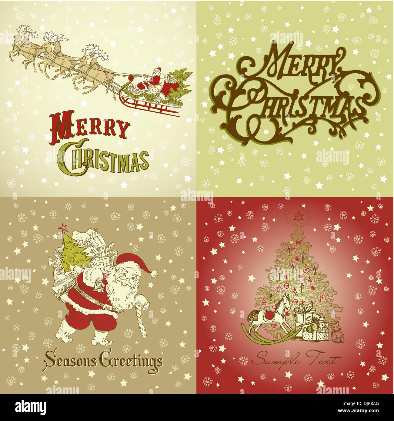 Set of Christmas Cards in vintage style Stock Vector Art ...