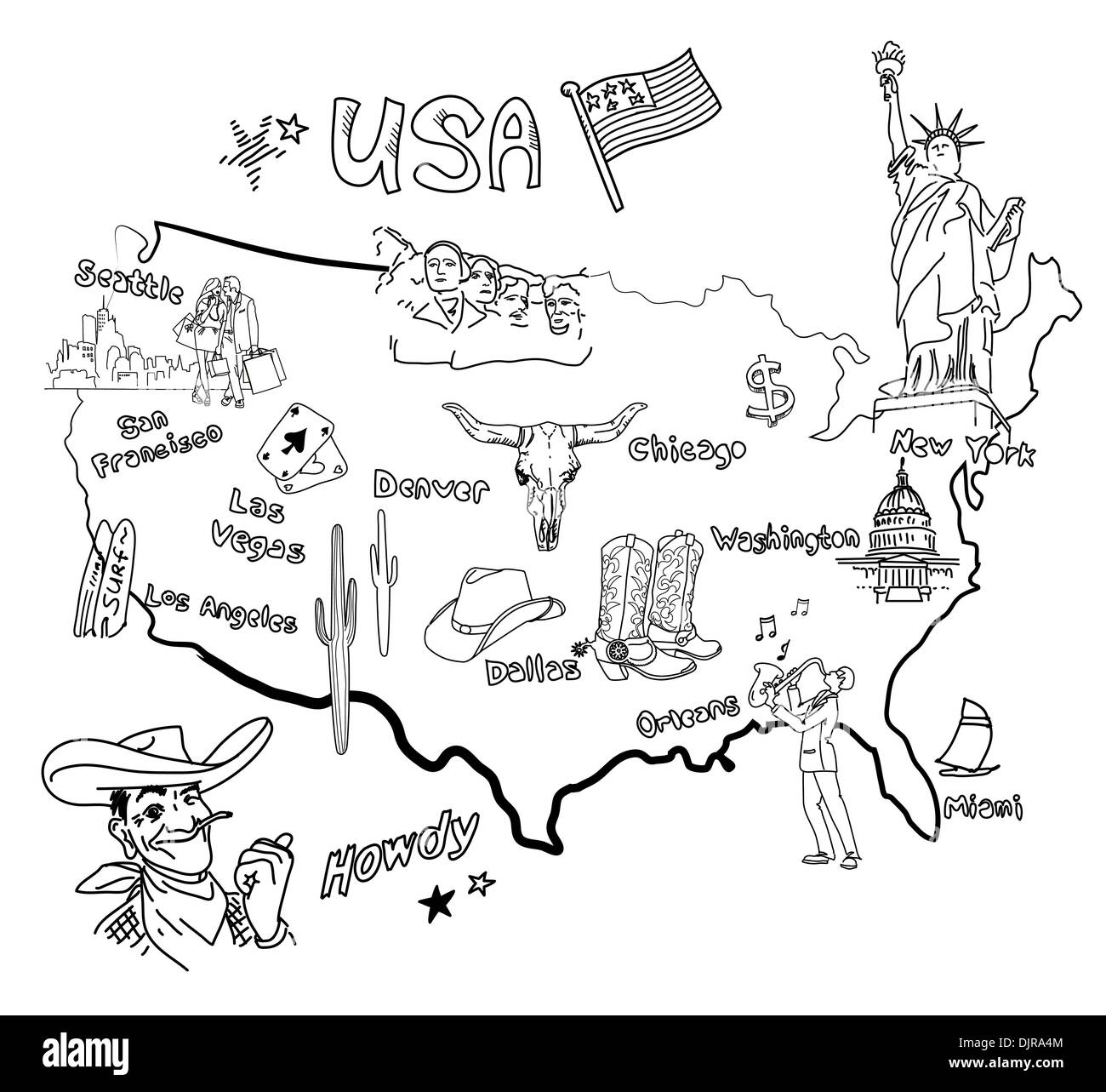 Stylized map of America. Things that different Regions in USA are ...