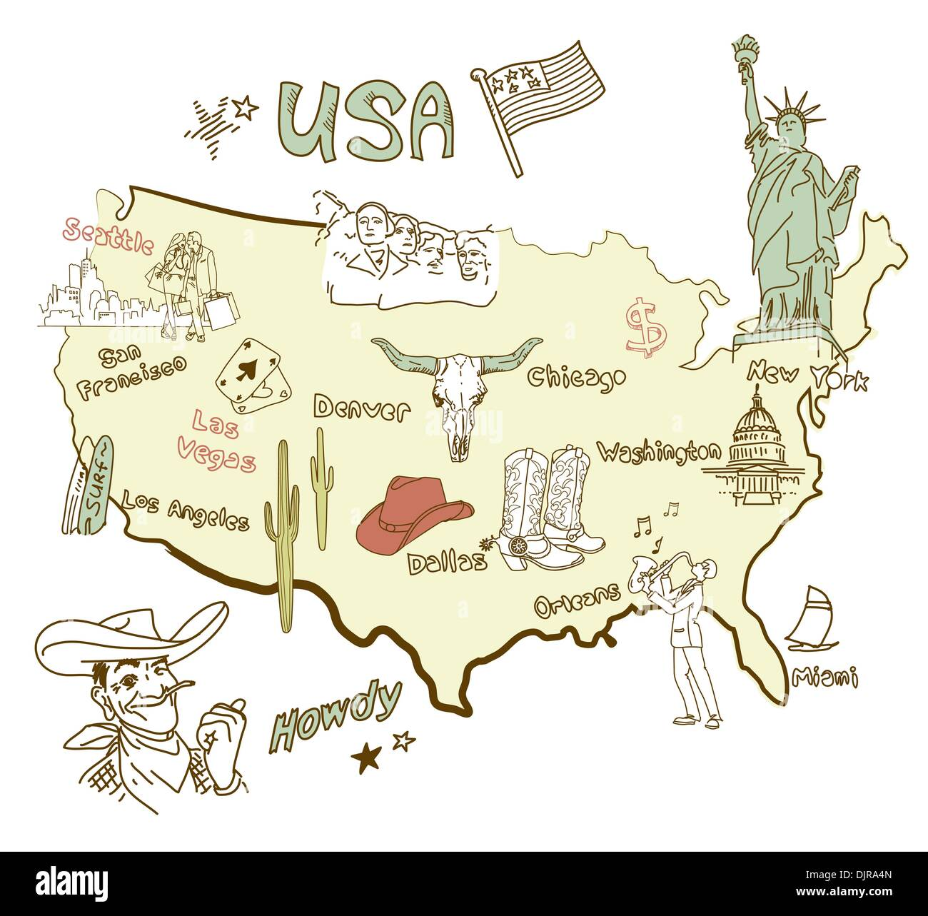 Stylized map of America Things that different Regions in USA are