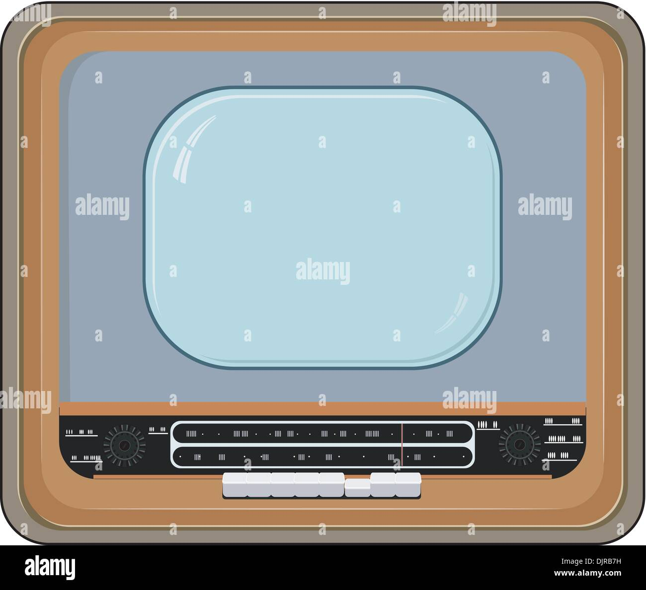 Vector illustration of an old TV set with wooden case - Stock Vector