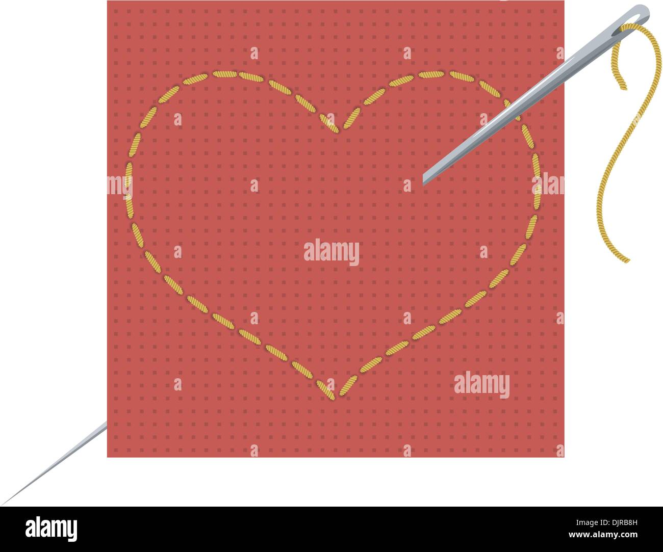 Vector illustration of the heart, needle and thread - Stock Vector