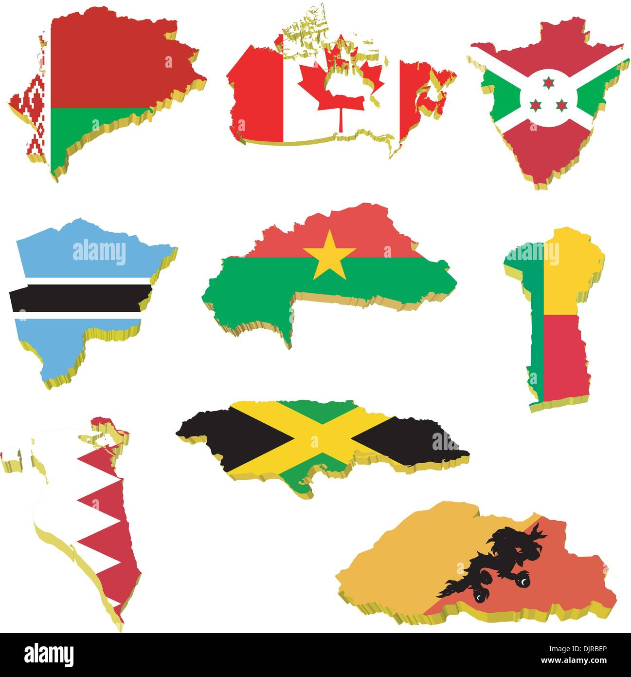 Collection volume vector maps of Belarus, Canada, Burundi, Burkina Faso, Benin, Bahrain, Jamaica, Bhutan, Botswana - Stock Vector